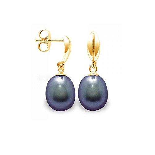 Boucles d'Oreilles Perle de Culture d'eau douce Noires et or jaune 375/1000 -Blue Pearls-BPS K321 W NOIR