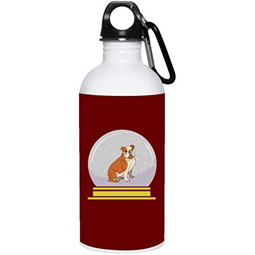 Weezag Snow Globe Bulldog Stainless Steel Water Bottle, Funny Gifts for Dog Lovers