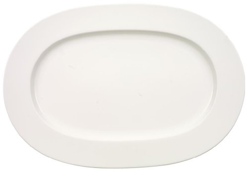 Anmut Oval Serving Platter by Villeroy & Boch - Premium Bone Porcelain - Made in Germany - Dishwasher and Microwave Safe - 16 (Dishwasher Safe Oval Platter)