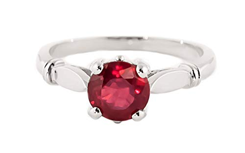 - Galaxy Gold 14K Solid White Gold Solitaire 2 Carat Natural Ruby Ring - Size 8