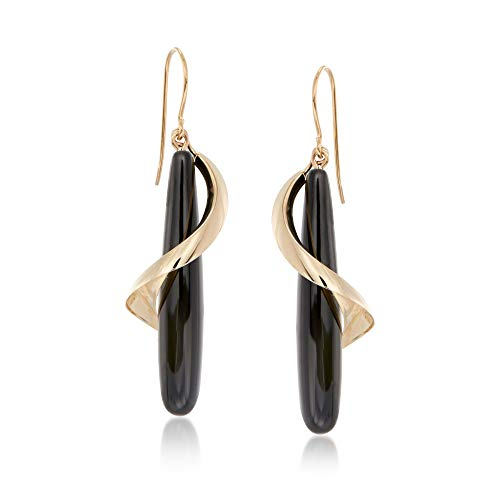 Ross-Simons Elongated Black Onyx Teardrop Spiral Earrings in 14kt Yellow Gold