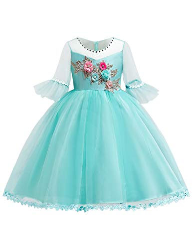 Blevonh Turquoise Dresses for Girls Kids Wedding Dress 3/4 Sleeve Mesh Embroidered Floral Pattern Multi-Layered Tulle Comfy Holiday Party Skirt 150(9-10 ()