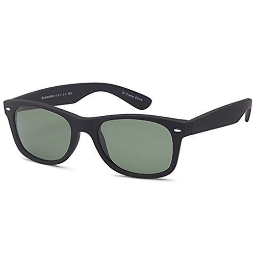 GAMMA RAY UV400 52mm Adult Classic Style Sunglasses – Olive Lens on Matte Black - New Sunglasses A