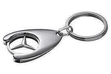 Llavero con moneda de pega para carro de supermercado, diseño lotogipo con el logo de Mercedes Benz