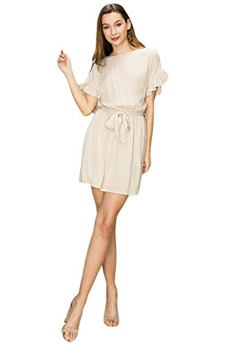 - Women's Ruffle Sleeve Tie Waist Cotton Travel Dress Fully Lined with Pockets (Large) Sand