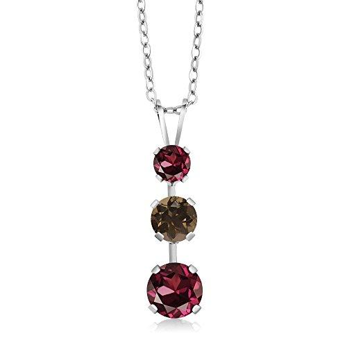 Gem Stone King 1.83 Ct Round Red Rhodolite Garnet Brown Smoky Quartz 925 Sterling Silver 3 Stone Pendant ()