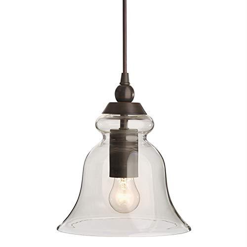 1 Bells Pendant - allen + roth 8-in Bronze Mini Clear Glass Pendant