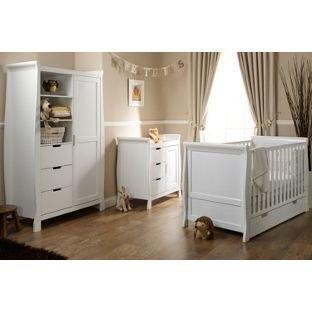 Beau Obaby Lincoln Sleigh 3 Piece Nursery Furniture Set   White.: Amazon.co.uk:  Baby