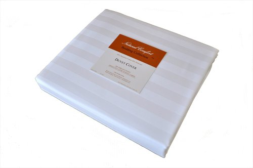 Natural Comfort Luxury Wrinkle Free 300TC White Sateen Stripe Egyptian Cotton Duvet Cover, Queen, 96-Inch by 88-Inch