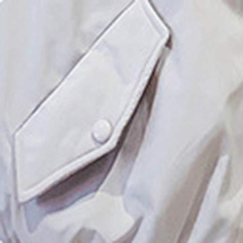 Casual Mujer Impermeable Manga Capucha Liso Para Npradla Blanco Larga Abrigo HZwEq81