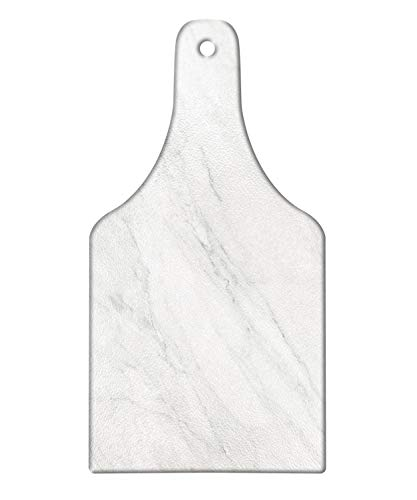(Ambesonne Marble Cutting Board, Stained Marbled Background Image Abstract Textures Monochromatic Design Print, Decorative Tempered Glass Cutting and Serving Board, Wine Bottle Shape, White Pale)