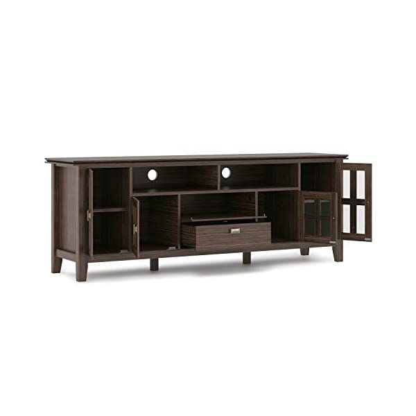 SIMPLIHOME Artisan SOLID WOOD Universal TV Media Stand, 72 inch Wide, Contemporary,Entertainment Center, Storage Cabinet…