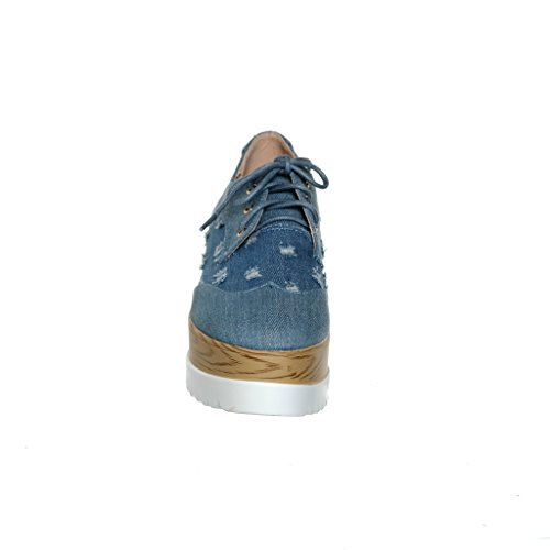 Up Shoe shoewhatever shoewhatever Womens Creeper Womens Lace Blue Platform Wedge qYWBwg