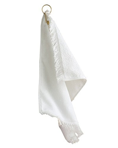 (A Product of Towels Plus FringedFingertip Towel with Corner Grommet and Hook - White)
