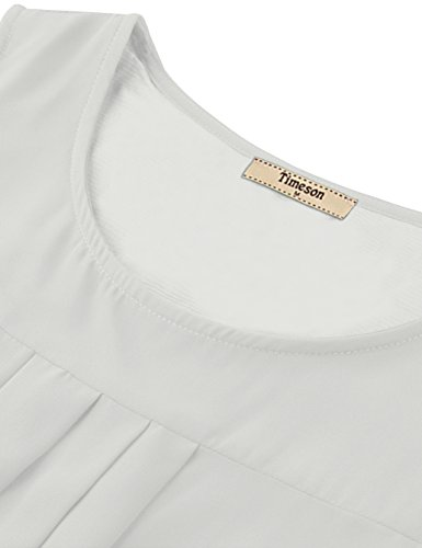 Timeson Womens Tunic Tops White, Women's White Loose Shirts Sleevelss Casual A Line Tunics Tops Chiffon Tank Tops Elegant Blouses for Business Work for Junior White Small by Timeson (Image #2)