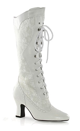 Vintage Granny - Ellie Shoes 253 Rebecca Womens Vintage Victorian Gothic Granny Lace up Boots White