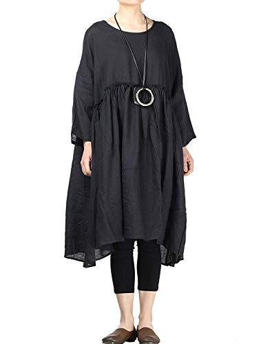 Size Line Colors Solid Plus Womens Casua Dress Classiche A Schwarz Camicia Summer Donne Larghi Fashion Lino Abiti Beach Basic Young x0qOqI7