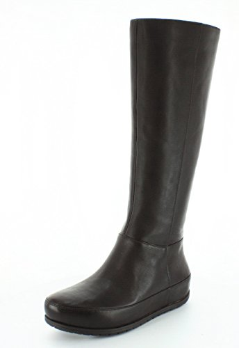 Duéboot™ Twisted Chocolate Brown womens Knee Zip High FitFlop boots FF2™ qERxT4P