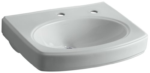 - Kohler K-2028-1R-95 Pinoir Lavatory Basin with Single-Hole Faucet Drilling and Right-Hand Soap/Lotion Dispenser, Ice Grey