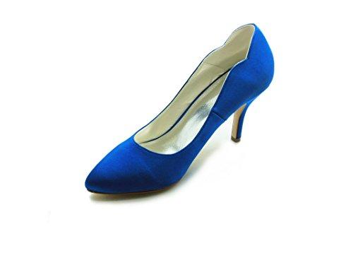 JIA JIA Damen Brautschuhe 8390B3 Geschlossene Zehe Absätze Satin Pumps Hochzeitsschuhe Blau