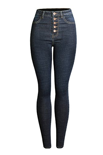 KAITUOZHE Women High Waisted Jeans Skinny Stretch Black Casual Button Fly Full Length Thick Denim Pants For Juniors Teen Girls US Size 12P