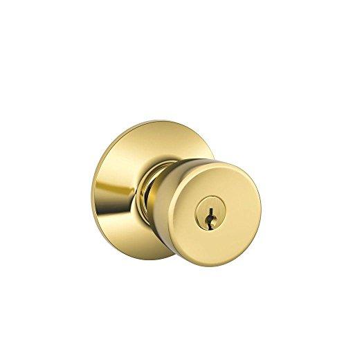 Schlage F51A BEL 505 605 Bell Knob Keyed Entry Lock, Bright Brass (Brass Keyed Entry Bell)