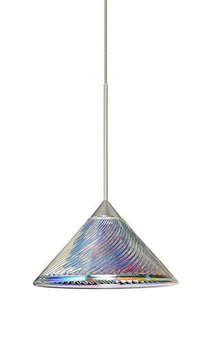 Besa Lighting 1XT-550493-LED-SN 1X6W Led Lightsource Kona Pendant with Dicro Swirl Glass, Satin Nickel - Swirl Dicro