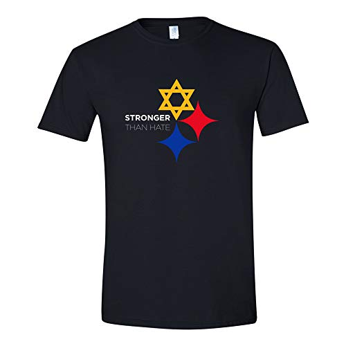 Stronger Than Hate - Official Pittsburgh Steelers Steel City Star of David T Shirt - Small - Black