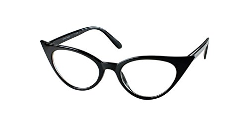 [Black Pointy Pointed Sharp Cat Eye Clear Lens Rockabilly 50s Retro Style Glasses] (Daria Costume)