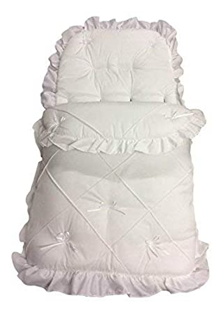 Luxury British Made Full White White//Pink Thick Padded Universal Pram Stroller Travel System Footmuff Cosy Toe