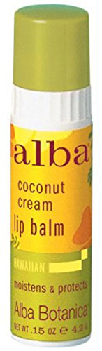 Alba Botanica Coconut Cream Lip Balm, 0.15 Ounce - 24 per case.