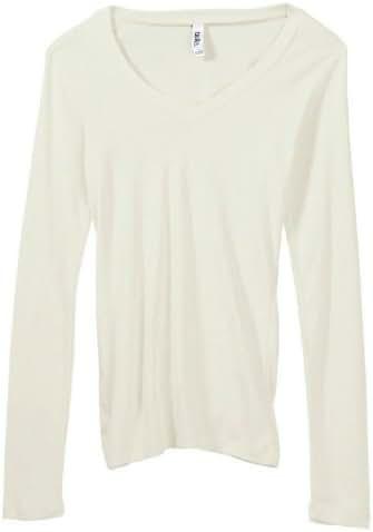 Bella Women's Andrea Sheer Rib Long Sleeve Longer-Length V-Neck T-Shirt B8750