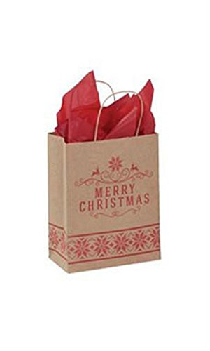 Medium Merry Christmas Paper Shopping Bags - Case of 100 by STORE001