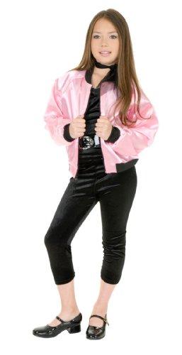 Pink Satin Ladies Kids Jacket (Pink Ladies Jacket Costume)