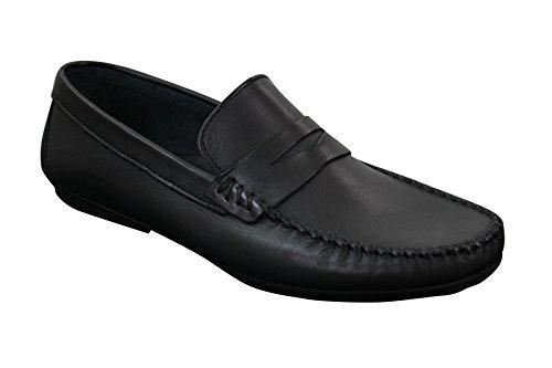 Mens Real Leather Designer Slip On Loafers Deck Smart Casual Shoes Vintage Retro Schwarz