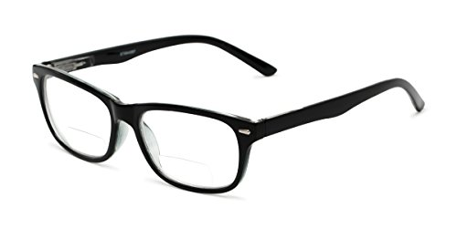 Readers.com Reading Glasses: The Emery Bifocal Reader, Plastic Rectangle Style for Men and Women - Black, ()
