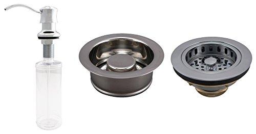 Plumb Pak KITK5445CPGD Basics Kitchen Kit with Garbage Disposal Stopper, Drop Post Sink Strainer, and Soap Dispenser, Polished Chrome