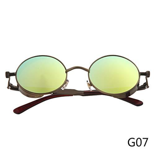 (Steampunk Round Sunglasses Women Steam Punk Circle Men Female Brand Metal Mirror Lenses Sun Glasses For Women Male Oculos De Sol 7)