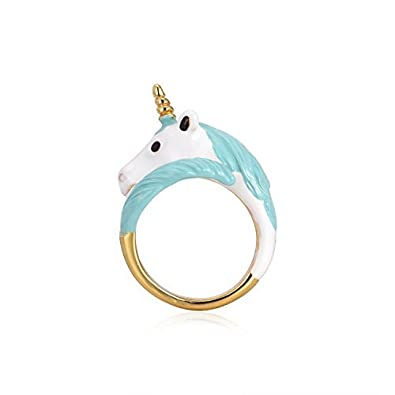 Sassy Flashy Exquisite 18K Gold Plated Hand Painted Unicorn Ring with Gift Box