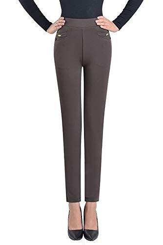 Alta Elasticizzata Marrone Colore Taglie Solido Pantaloni Vita Casual Leggings YIHIGH Donna di Forti OIqxawXIR