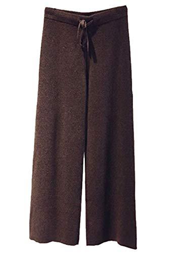- Aishang Womens Cashmere Lounge Pants Elastic High Waist Sweater Wide Leg Pant