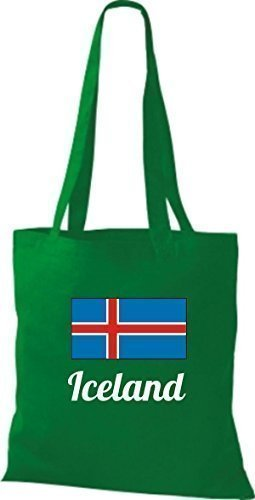 shirtinstyle Tela Bolsa Algodón länderjute Iceland island - fucsia, 38 cm x 42 cm KELLY