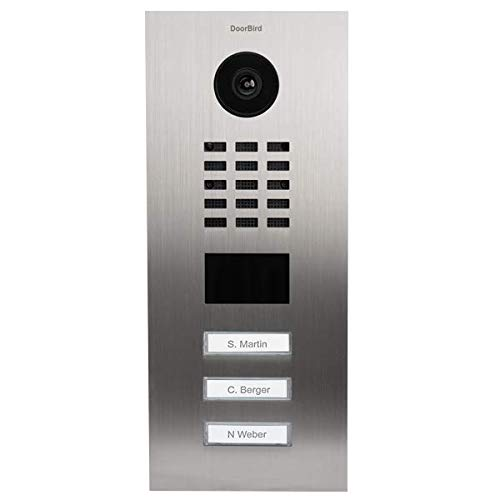 (DoorBird IP Video Door Station Flush-mounted, Brushed Stainless Steel Call buttons Multi Tenants - Access Control- POE Capable (Stainless Steel/3 Call Buttons))