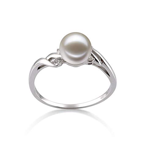 Andrea White 6-7mm AAAA Quality Freshwater 14K White Gold Cultured Pearl Ring For Women - Size-7 ()