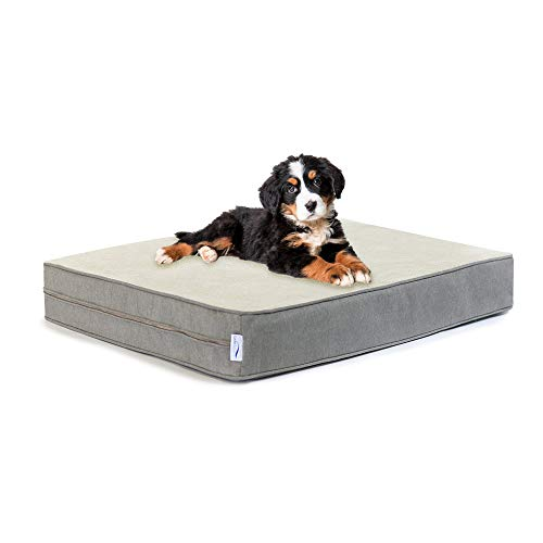 eLuxurySupply Dog Beds - Orthopedic Memory Foam Pet Bed for Dogs & Cats - Waterproof Canvas Cover Featuring LiveSmart Technology - Assembled in The USA - Small Medium & Large Size