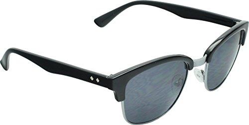 True Gear iShield Modern Soho Horn Rimmed Style Sunglasses (Shiny Black with Smoke Flash Mirror - Soho Sunglasses