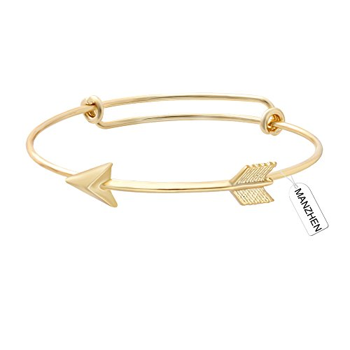 MANZHEN Gold Rose Gold Silver Arrow Adjustable Wire Bangle Bracelets Wrist Ornament for Women