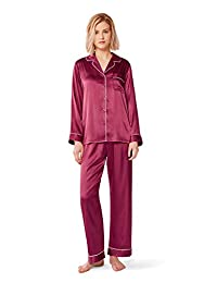 SIORO Women Silky Satin Pajama Set-Long Sleeve Pj Sets Sleepwear Loungewear S-XL