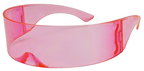Black Retro Futuristic Single Shield Color Oversized Wrap Cyclops / Visor Sunglasses (Pink, - Visor Futuristic