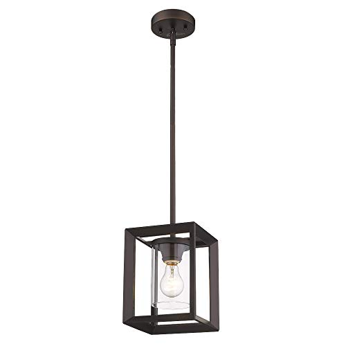 Emliviar Modern Glass Pendant Light, Single Light Metal Wire Cage Hanging Pendant Light, Oil Rubbed Bronze with Clear Glass Shade and 42